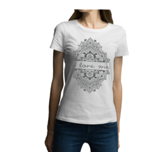 Camiseta para dama - Mandala en blanco